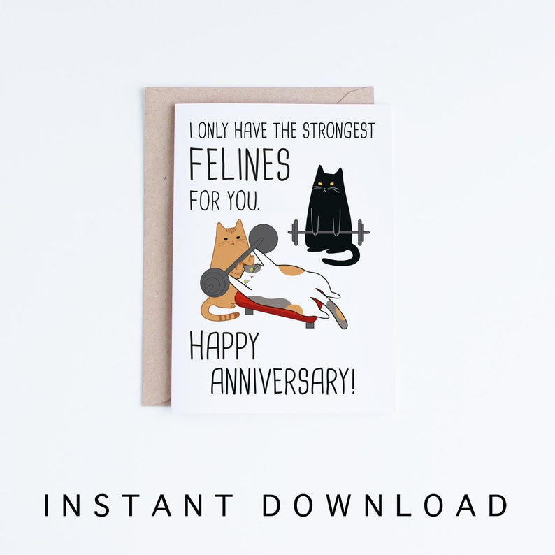 graphic relating to Printable Anniversary Card identify Printable Anniversary Playing cards, Amusing Anniversary Black Cat Card Instantaneous Down load, Pounds Lifting Cats, For Him, Punny, Spouse, Boyfriend