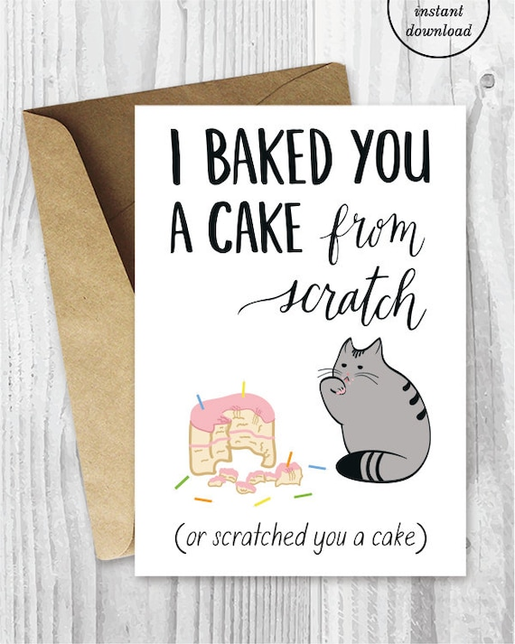 Birthday Card Downloads Funny Cat Birthday Cards Printable Etsy