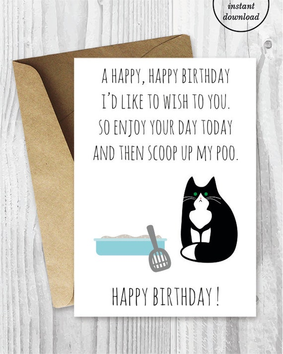 Printable Funny Birthday Cards Black And White Cat
