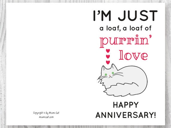 graphic about Funny Printable Anniversary Cards named Printable Anniversary Playing cards, Cat Loaf Humorous Anniversary Card, Loaf of Purrin Take pleasure in Humorous Printable Card, Elvis and Cat Enthusiasts Card Obtain