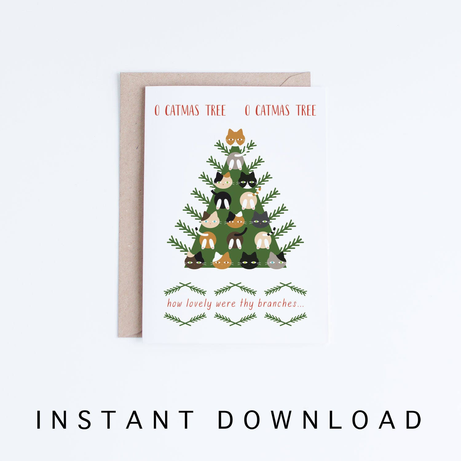 Funny Christmas Cards Instant Download O Catmas Tree