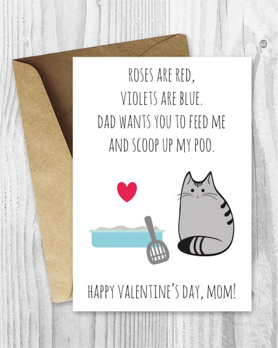 Valentine Card Her Printable For Mom Funny Cat Valentines Day Etsy
