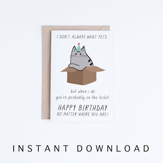 Funny Birthday Cards Instant Download Printable
