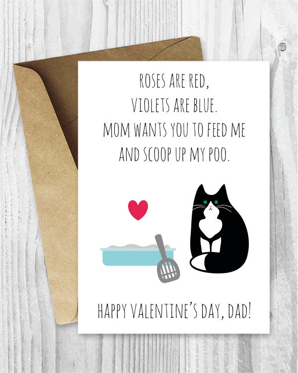 Printable Valentine Day Cards Fur Baby Daddy Funny Tuxedo
