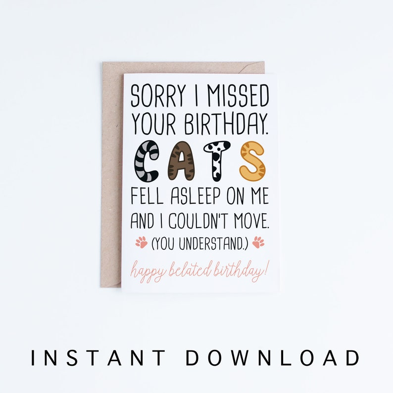 Funny Belated Birthday Printable Cards Cat