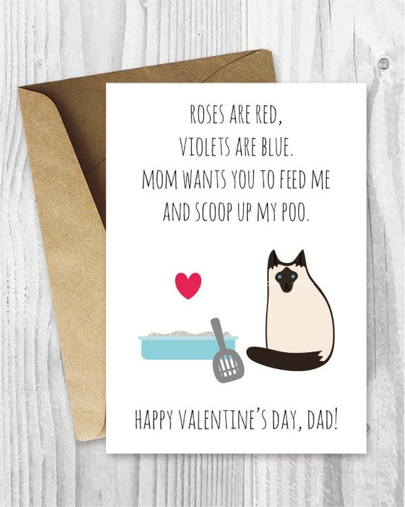 Diy Valentine Card Him Printable For Dad Funny Siamese Cat Etsy