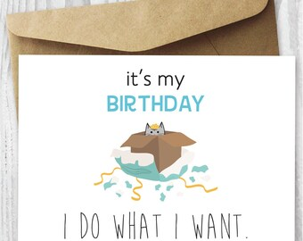 i do what i want birthday card printable birthday cat in box card diy funny quirky printable birthday card download