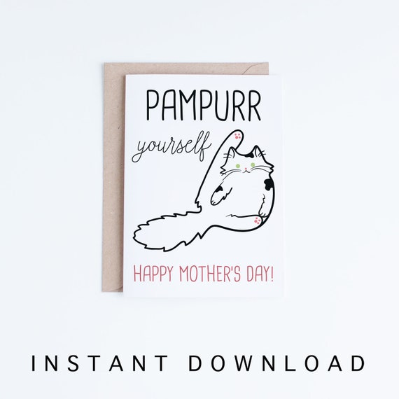 image regarding Funny Printable Mothers Day Cards referred to as Printable Moms Working day Card, Printable Moms Working day Card, Amusing Cat Moms Working day Electronic Card, Gag Card, Cat Moms Working day Card, Persian