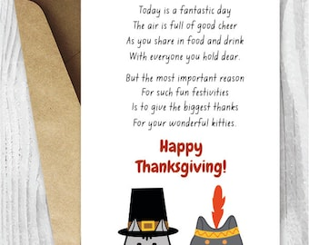 Happy Thanksgiving Cat Card, Printable Thanksgiving Cards, Funny Thanksgiving Poem Cards for Cat Lovers, Pilgrim and Indian Cats, Shorthair