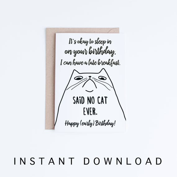 Funny cat birthday cards instant download printable birthday etsy image 0 m4hsunfo