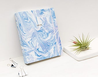 17M Marble ARCTIC BLUE Planner Hardcover Spiral Bound