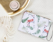 Zipper pouch animal print ferns and deers pattern