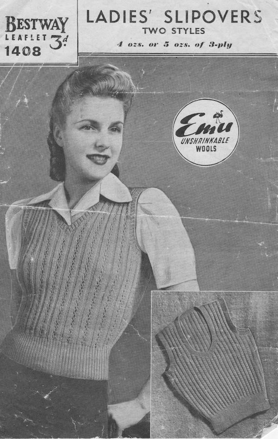 Vintage retro 40s photo copy knitting Pattern Bestway 2002 ladies cardigan 36-38