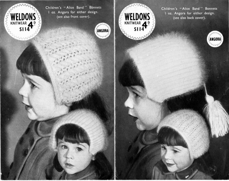 e4b09e747e5 Vintage 1950 s Knitting Pattern Childs Girls Alice band