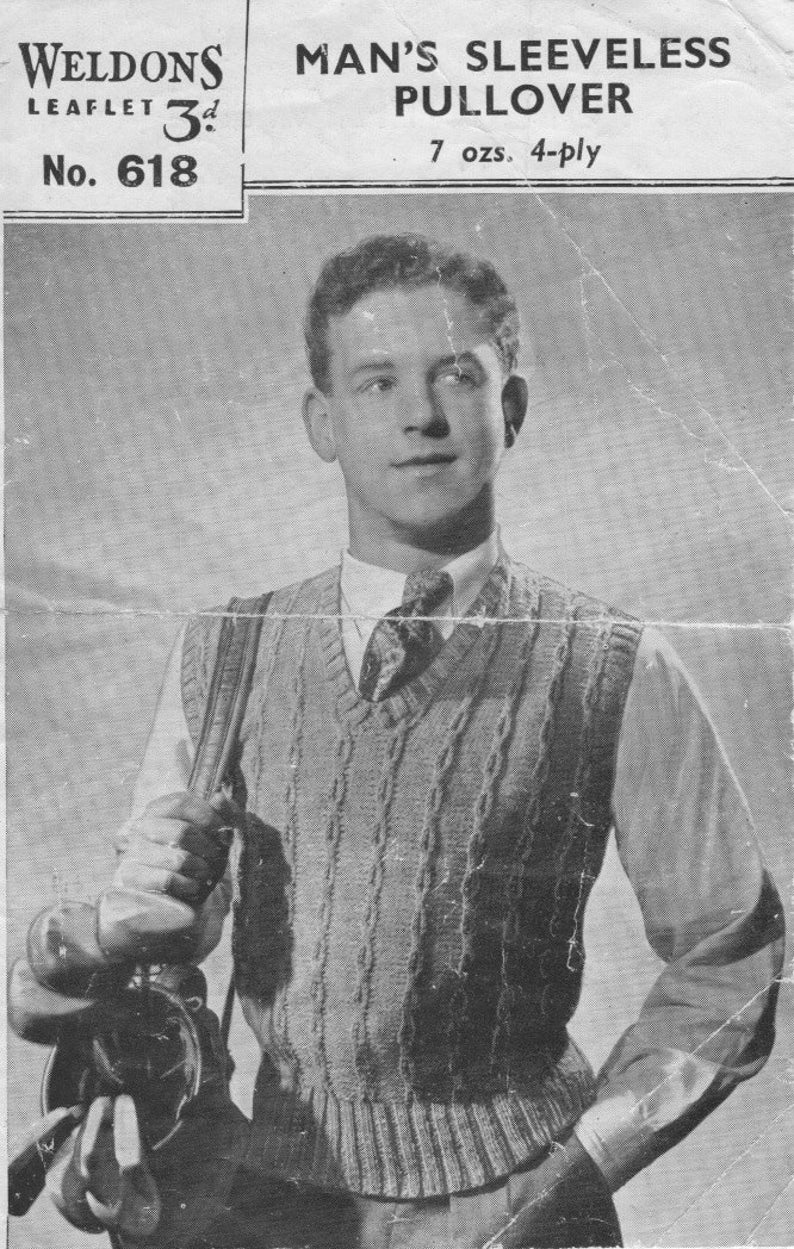acaabf146d Vintage 1940 s Knitting Pattern Man s Pullover