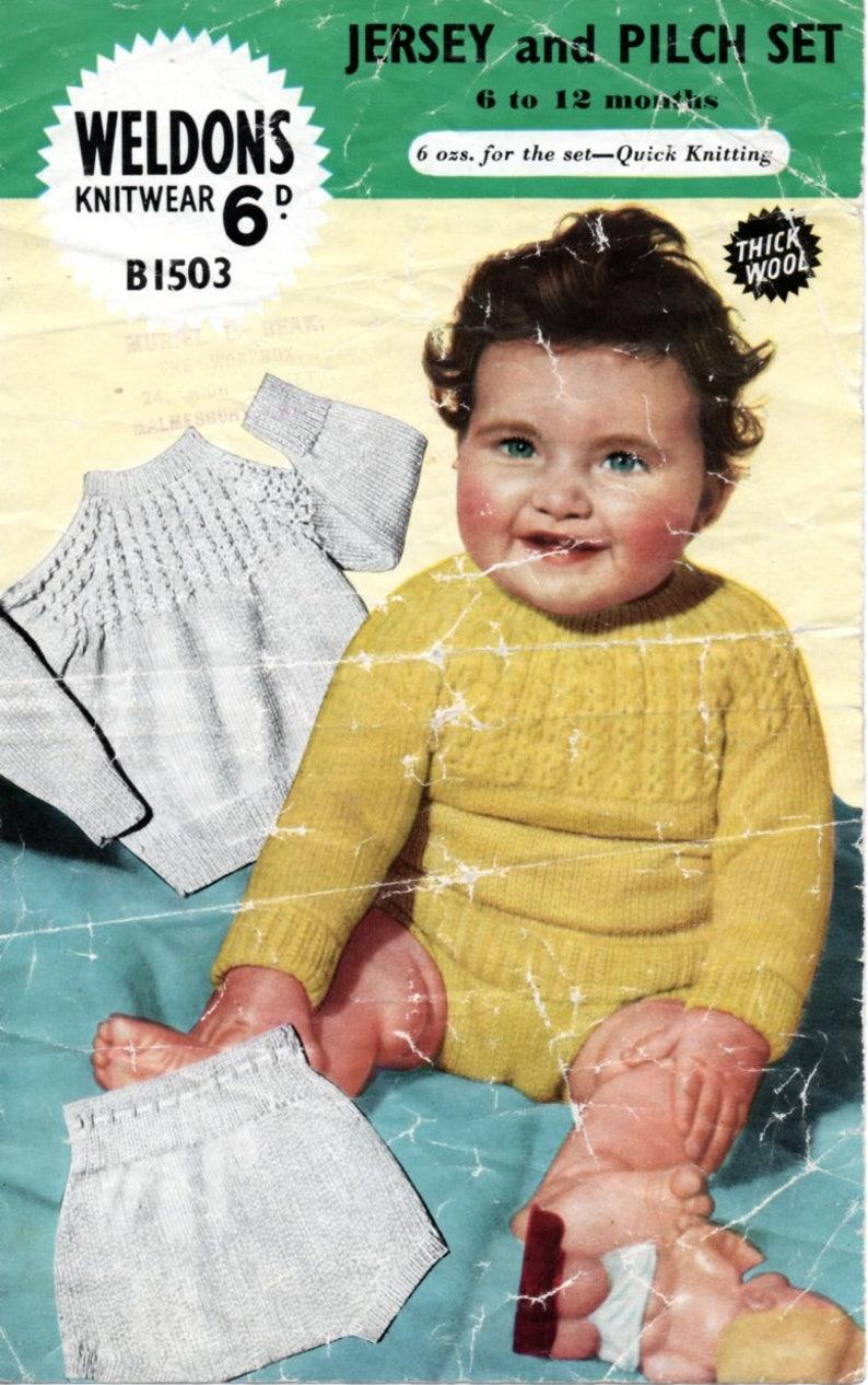 3b29ac8c51 Vintage 1950 s Knitting Pattern Baby Jersey   Pilch