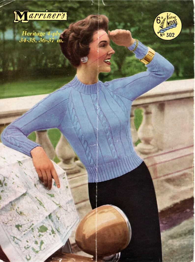 3bab9fc4b519 Vintage 1950 s Knitting Pattern Classic Raglan Sleeve