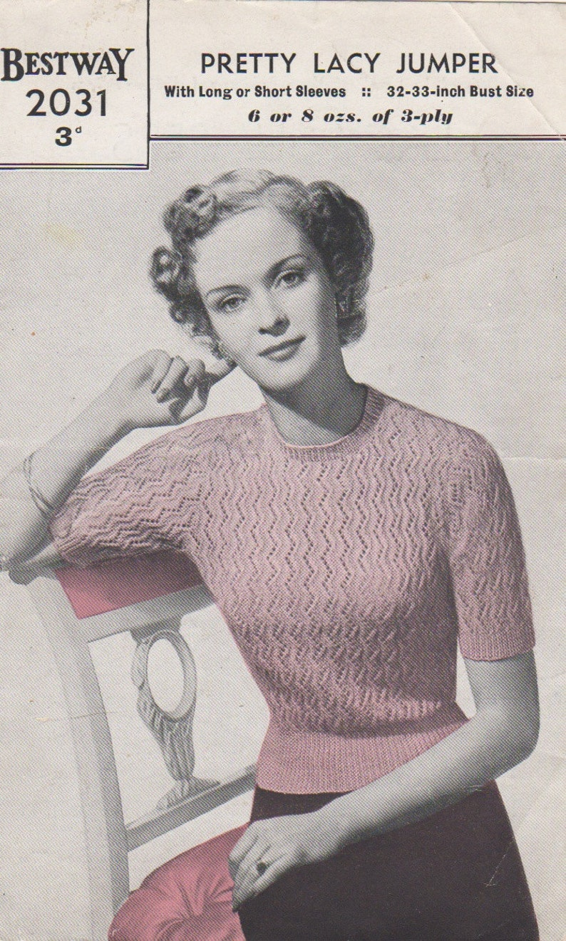 Knitting Pattern Lady/'s Vintage 1940s Jumper 4Ply Yarn Long or Short Sleeves.