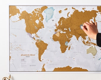 Scratch the World ® - scratch off places you travel map print - home decor, wall hanging, gift, gift for him, gift for her, free shipping