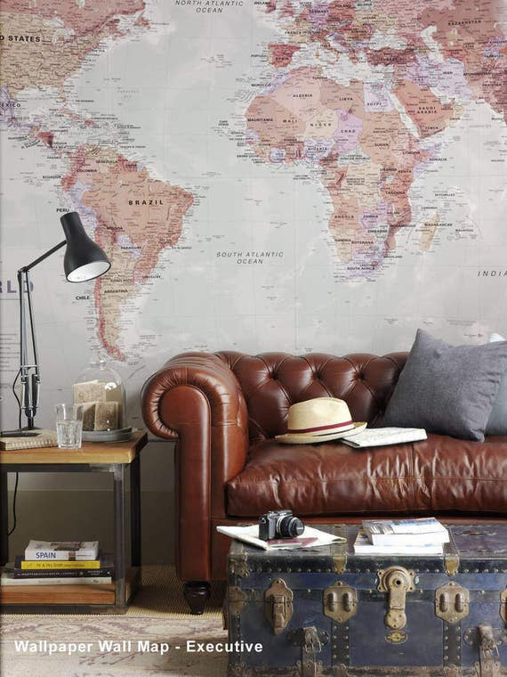 World map wallpaper home decor living room study map of etsy image 0 gumiabroncs Image collections
