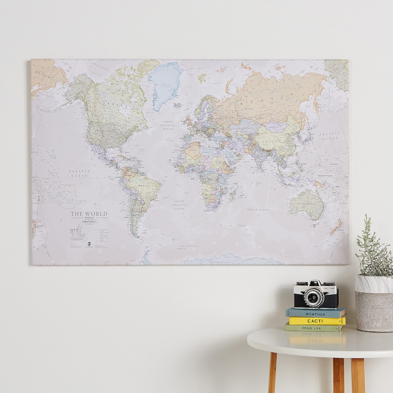 Classic Map of the World Canvas Print free shipping gift | Etsy