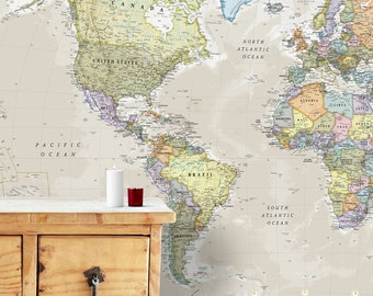 Giant Classic World Map Mural - home decor, push pin map, world map, giant world map, gift for him, gift for her, wall map, Free Shipping