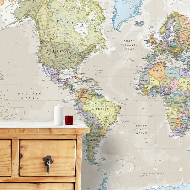 Giant Classic World Map Mural Home Decor Push Pin Map Etsy