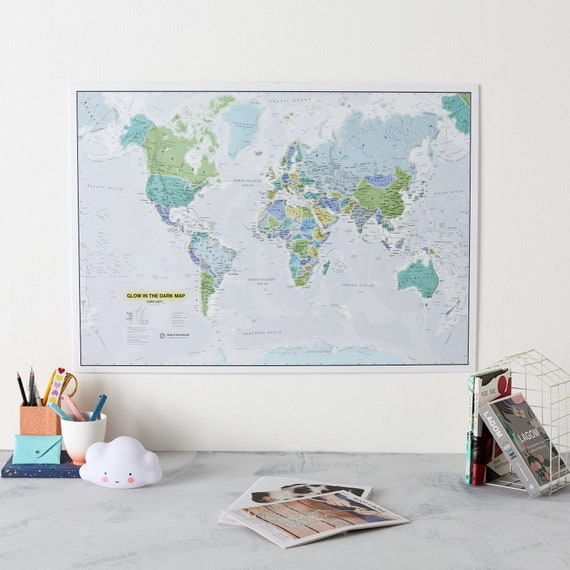 Kids Glow In The Dark World Map Bedroom Playroom Wall Map Etsy