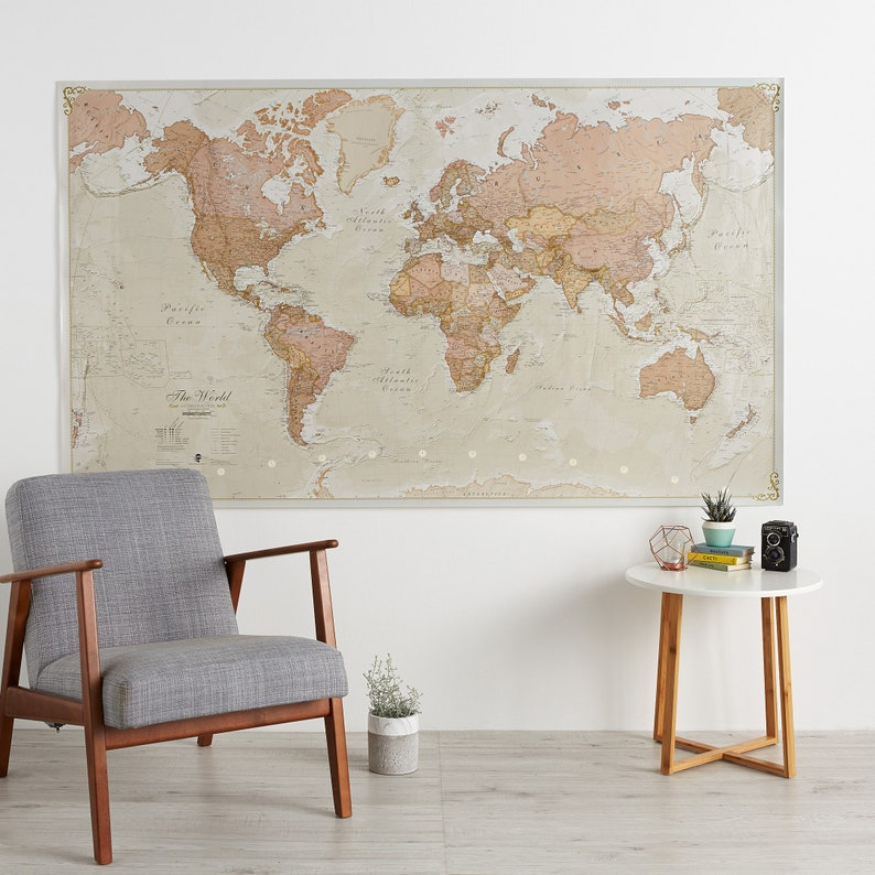 Huge Antique World Map - wooden hanging bars, wall map, gift for him, gif,  bedroom, living room, world wall map, antique, Free Shipping