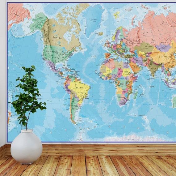 Giant World Map Mural Blue Ocean blue ocean wall map