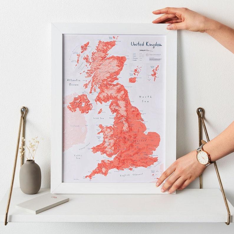Map Of Uk For Printing.Map Of Uk Art Print Matt Art Paper Uk Push Pin Map Gift For Him Gift For Her Free Shipping Home Decor Art Map Living Room Map