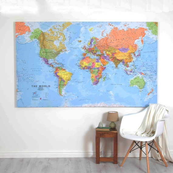 Giant World Map Canvas'-home decor, bedroom, living room, office, map on zodiac star map, gobi desert map, giant usa map, giant world map, size accurate world map, north china plain map, giant africa map,