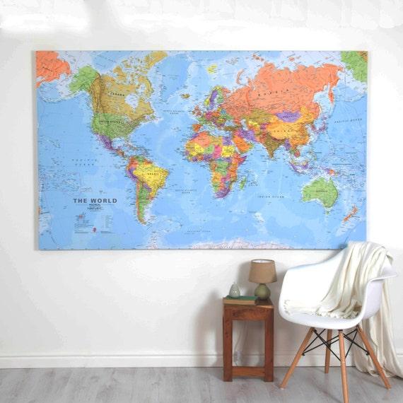 Toile géante monde carte-maison décoration chambre à coucher | Etsy