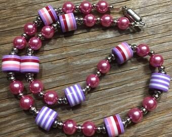 Sweetie Pie - Unique Handmade Pink & Purple Necklace
