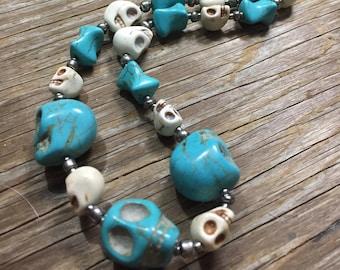 Big Skies - Handmade Blue & White Stone Skull Statement Necklace