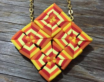 Kaleidoscope - Bright Red Yellow & Orange Polymer Clay Pendant Necklace