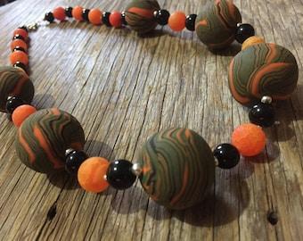 Sumatran - Handmade Unique Bold Orange Green & Black Statement Necklace