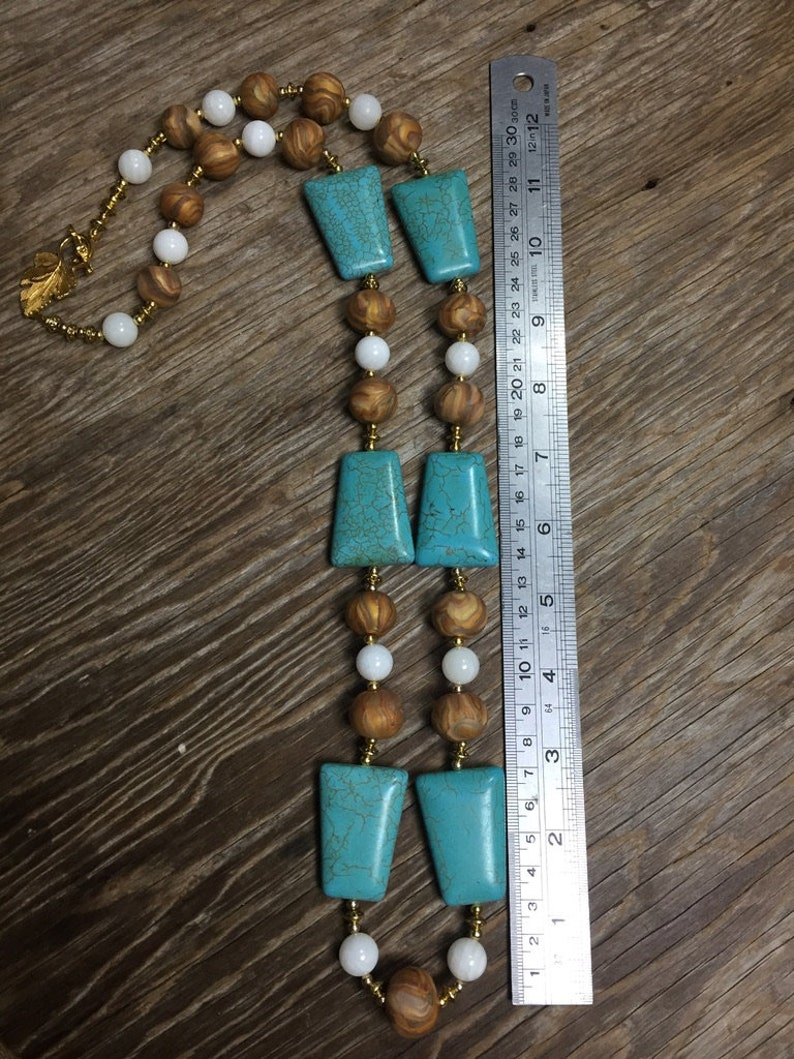 Bold Unique Gold Turquoise /& White Handmade Statement Necklace Roma