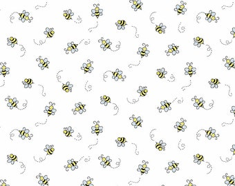 Bumble Bee Polycotton Fabric Quilting patchwork bunting crafts fabrics