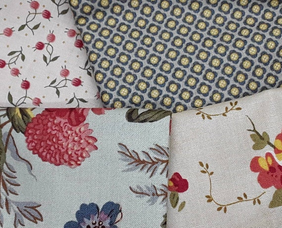 Bed Of Roses Cotton Fabric  Fat Quarter Andover Forget Me Not Rhubard
