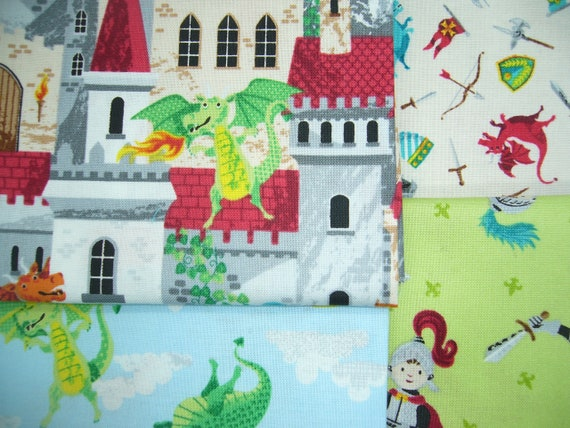 55 cm x 50 cm Sewing DRAGONHEART Castles Knights Dragons SQUARES Makower fabric