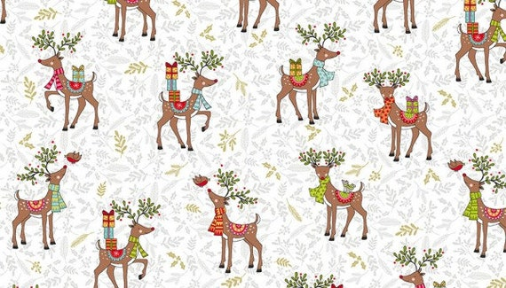 Christmas Scandinavian Silhouette Reindeer Stags and Does 100/% Cotton Fabric