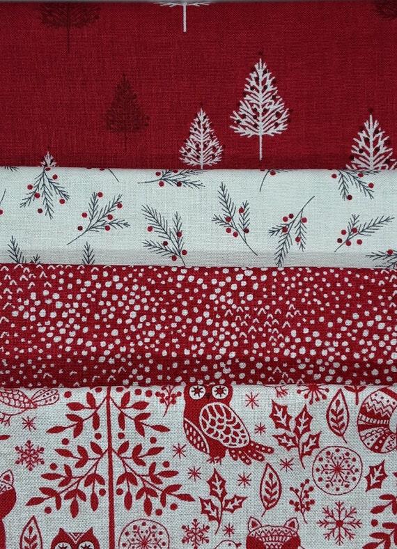 Christmas Fabric 2019.Christmas Fat Quarter Set Red Christmas Woodland Fabric Bundle Red Scandi Fabric Set Makower Scandi 2019 Christmas Scandi Fabric Range