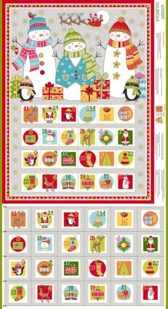 Christmas 2019 Calendar.Christmas 2019 Festive Advent Panel Makower Festive Advent Calendar Fabric Snowman Advent Calendar To Make Makower Fabric Code 2106 1