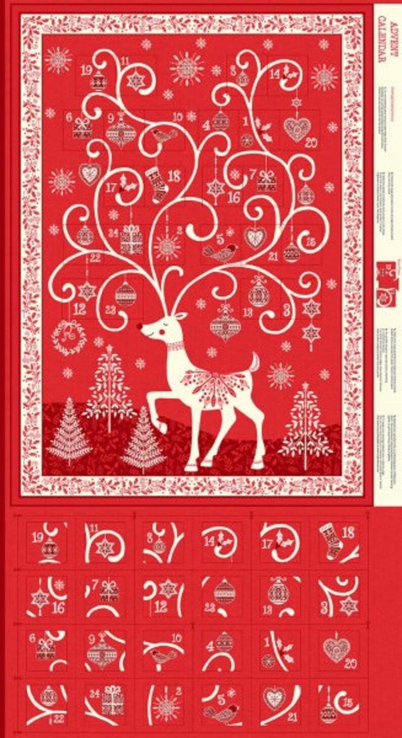 Red Scandi 2018 Advent Calendar Tree Panel by Makower UK