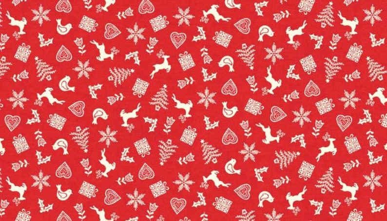 Christmas Scandi B Check Makower 100/% cotton Fabric Patchwork Quilting red