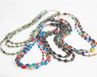 Multi-strand paper bead Necklace