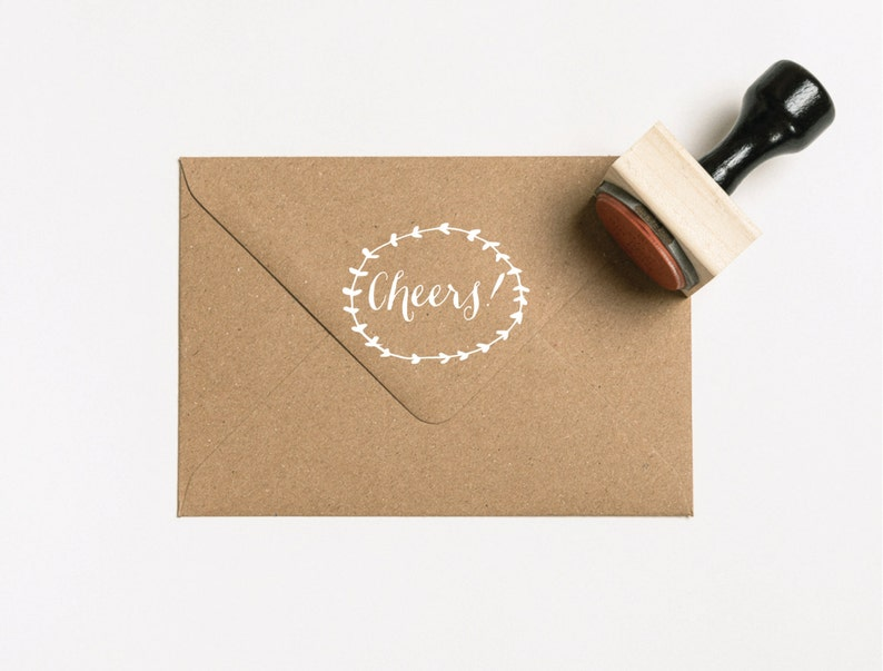 Laurel Cheers Favors Stamp SFAVS218 - S.2 Cheers Stamp Personalized Stamp Drink Stamp Woodland Favor Stamp Beer Favor Rubber Stamp