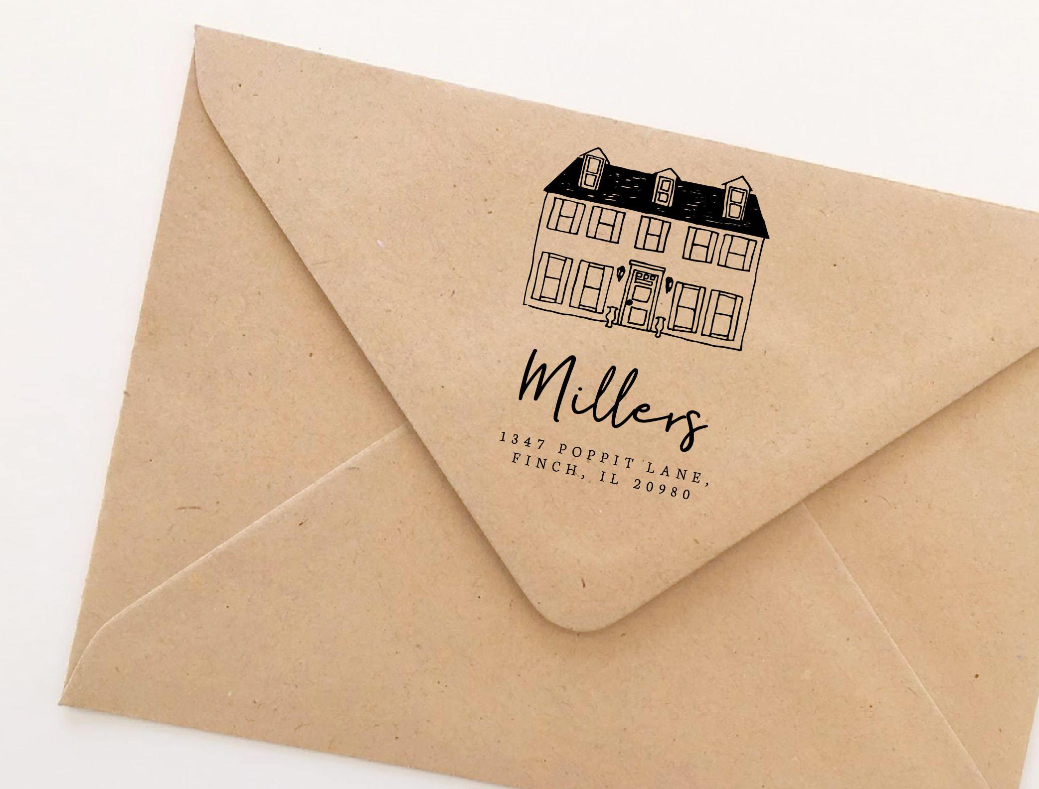Custom House Stamp Return Address Hand Drawn Etsy Ox 921 Kitchen Scissor