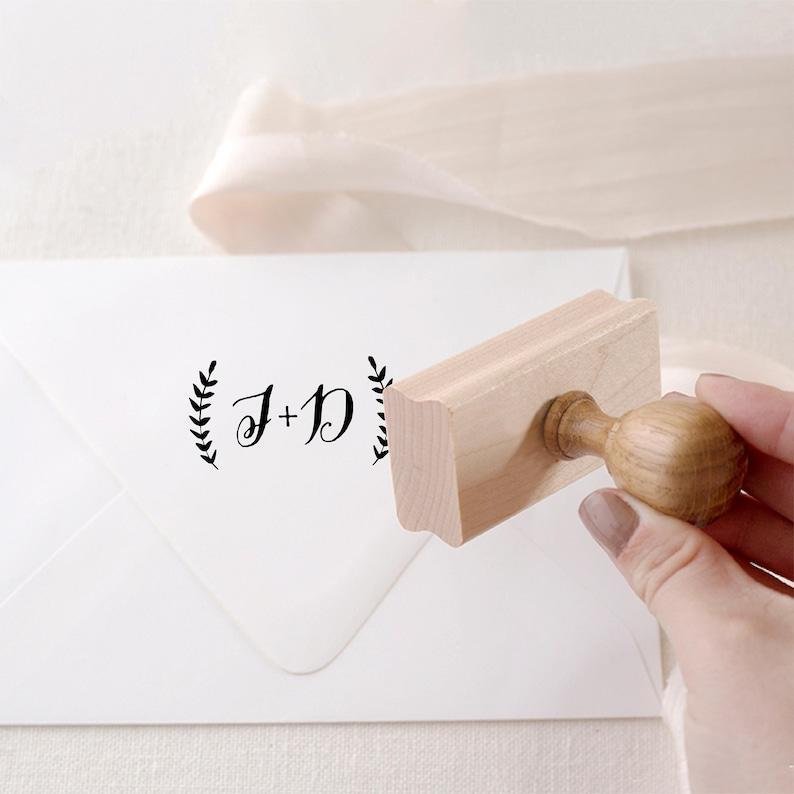 Monogram Stamp Laurel Initial Stamp Personalized Wedding image 0